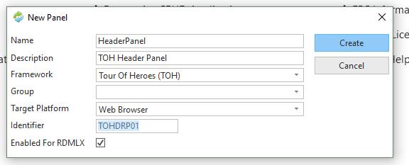 Header panel